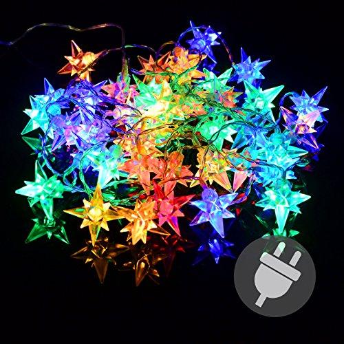 Nipach GmbH 40er LED Sternenlichterkette bunt für Innen Aussen Trafo Timer transparentes Kabel Sternenkette Weihnachtssternkette Weihnachtsdeko Xmas