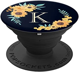 Monogram Initial Letter K - Yellow Sunflowers on Navy Blue - PopSockets Grip and Stand for Phones and Tablets