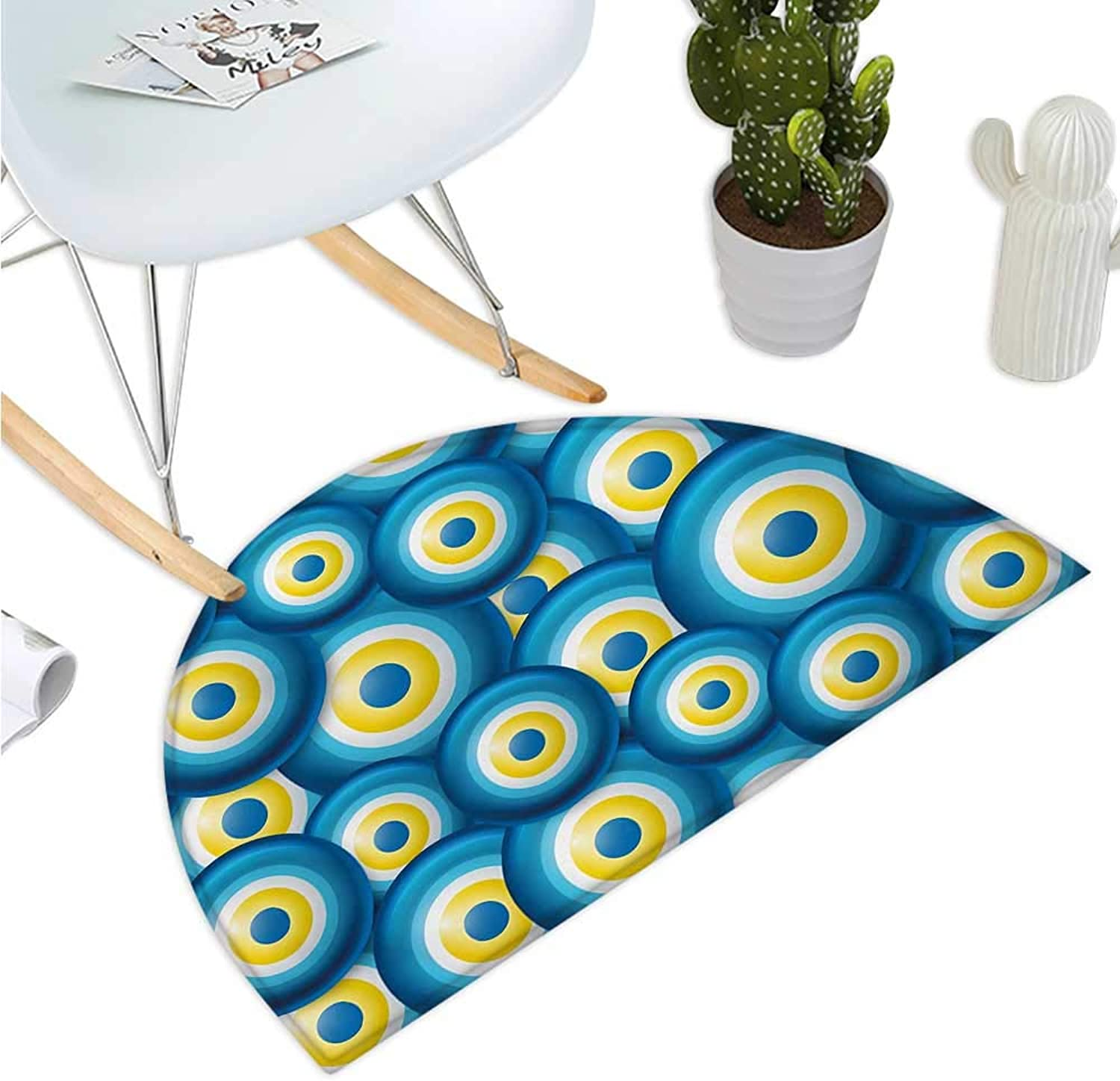 Evil Eye Semicircular Cushion Overlapping Evil Eye Figures Cultural Ethnicity Turkish Positive Lucky Sign Bathroom Mat H 35.4  xD 53.1  bluee White Yellow
