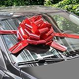 WXJ13 Lazos de coche rojo brillante de 40,64 cm con cinta de 6 m para regalos de Navidad, decoración de regalo grande, fiesta sorpresa, casas nuevas