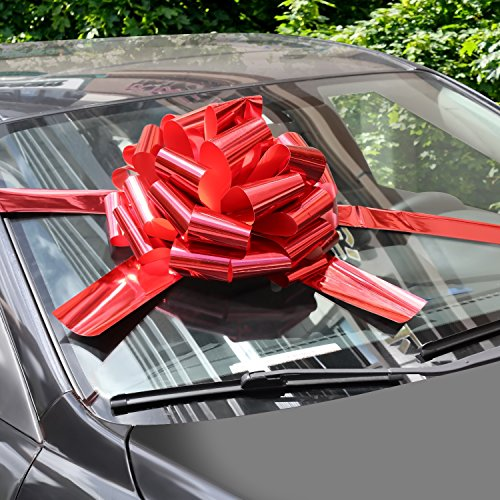 WXJ13 16' Bright Red Car Bows with 6m Ribbon for Christmas Presents, Large Gift Decoration, Prom, Surprise Party, New Houses