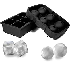 Gluckluz LED Strip Light, 2 Pack Square and Ball Ice Cube Tray Black
