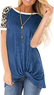 WUAI-Women Comfy Color Block Twist Knot Tunics Tops Casual Short Sleeve Round Neck Loose Tee Shirts Blouse