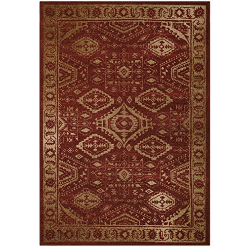 Maples Rugs Georgina Traditional Area Rugs for Living Room & Bedroom [Made in USA], 5 x 7, Red/Gold
