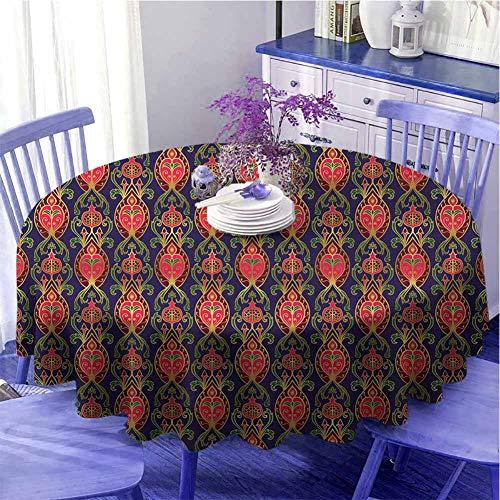 Mantel redondo para interior con diseño turco, diseño botánico oriental, con granadas y hojas sobre fondo índigo, para amigos, diámetro de 39 pulgadas, multicolor
