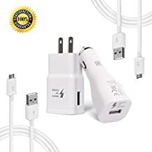 Samsung Adaptive Fast Charger Kit Compatible with Samsung Galaxy S7 Edge / S6 / Note5 / Note 4/ S3,Fast Charging ChiChiFit Quick Charger(Wall Charger + Car Charger + 2 x Micro USB Cable)-White