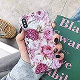 HUAI Caso de Shell Textura de la Flor del teléfono for el iPhone 11 Pro XR XS MAX 6 7 8 Plus 6S Suave IMD Dedo anular de Cristal Cubierta Trasera del teléfono (Color : L, Material : For iPhone 11)