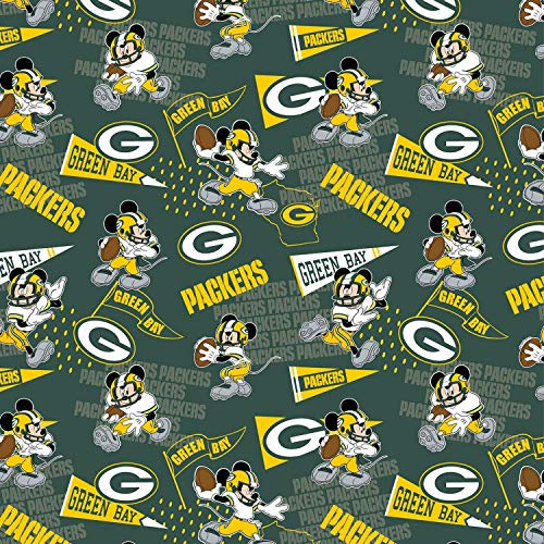 """NFL Mickey Disney Mash Up Fabric Green Bay Packers Fabric NFL Football in Green 44"""" Wide 100% Cotton Fabric by The Yard"""