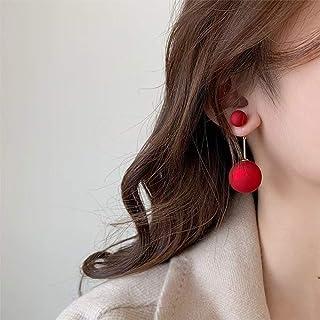 YERTTER Elegant 925 Red Pearl Earrings Vintage Earrings Ear Studs Stylish Hoop Dangle Ear Stud Ear Jewelry for Party Prom ...
