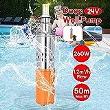 SHIJING Bomba de Agua Solar 24V 260W 50m Bomba...