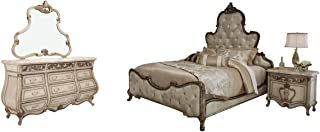 AICO Platine de Royale 4 Piece Champagne Bedroom Set, California King Bed, Nightstand, Dresser and Mirror