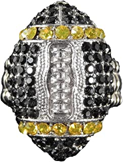 Team Colored Football Shaped Rhinestone Bling Ring with Stretchy Band