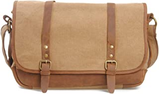 Mens Bag Messenger Bag Color: Khaki Simple Retro Zipper Waterproof Canvas Briefcase Shoulder Bag High capacity