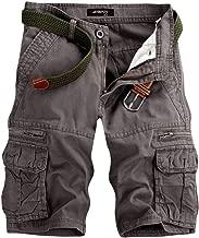 Men's Casual Pure Color Vintage Paratrooper Shorts Outdoors Pockets Zipper Beach Work Cargo Short Pants