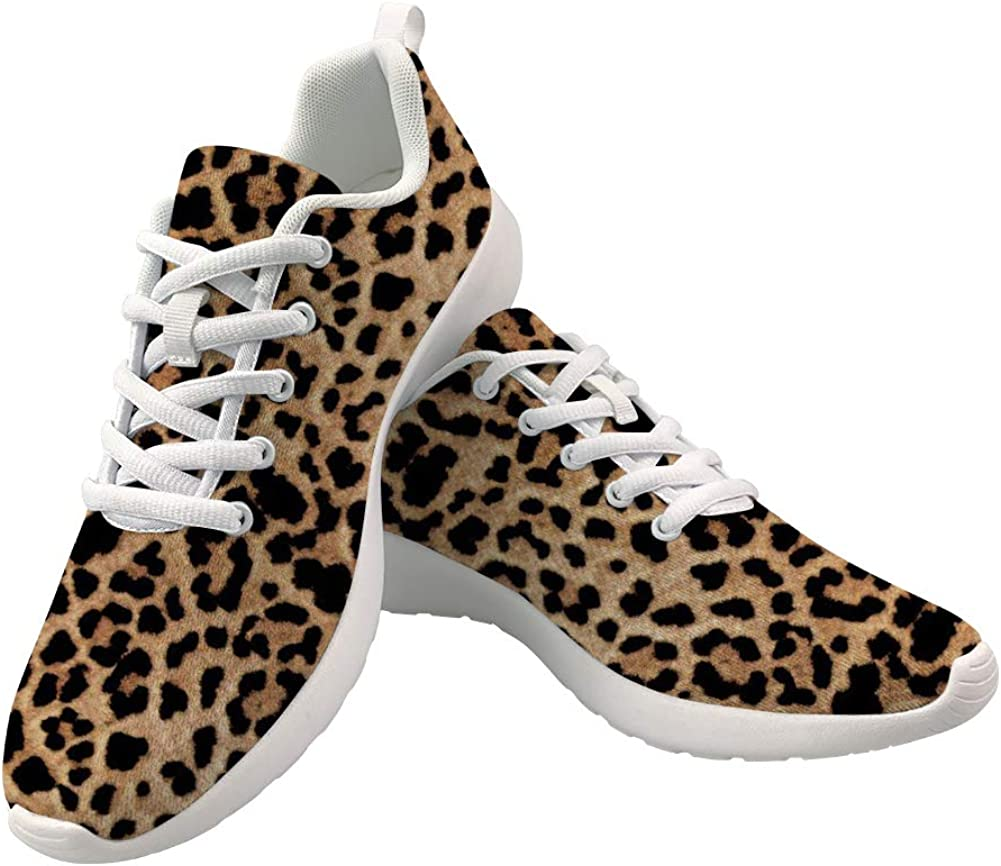 Leopard Print Athletic Walking Shoes for Women Fashion Sneakers