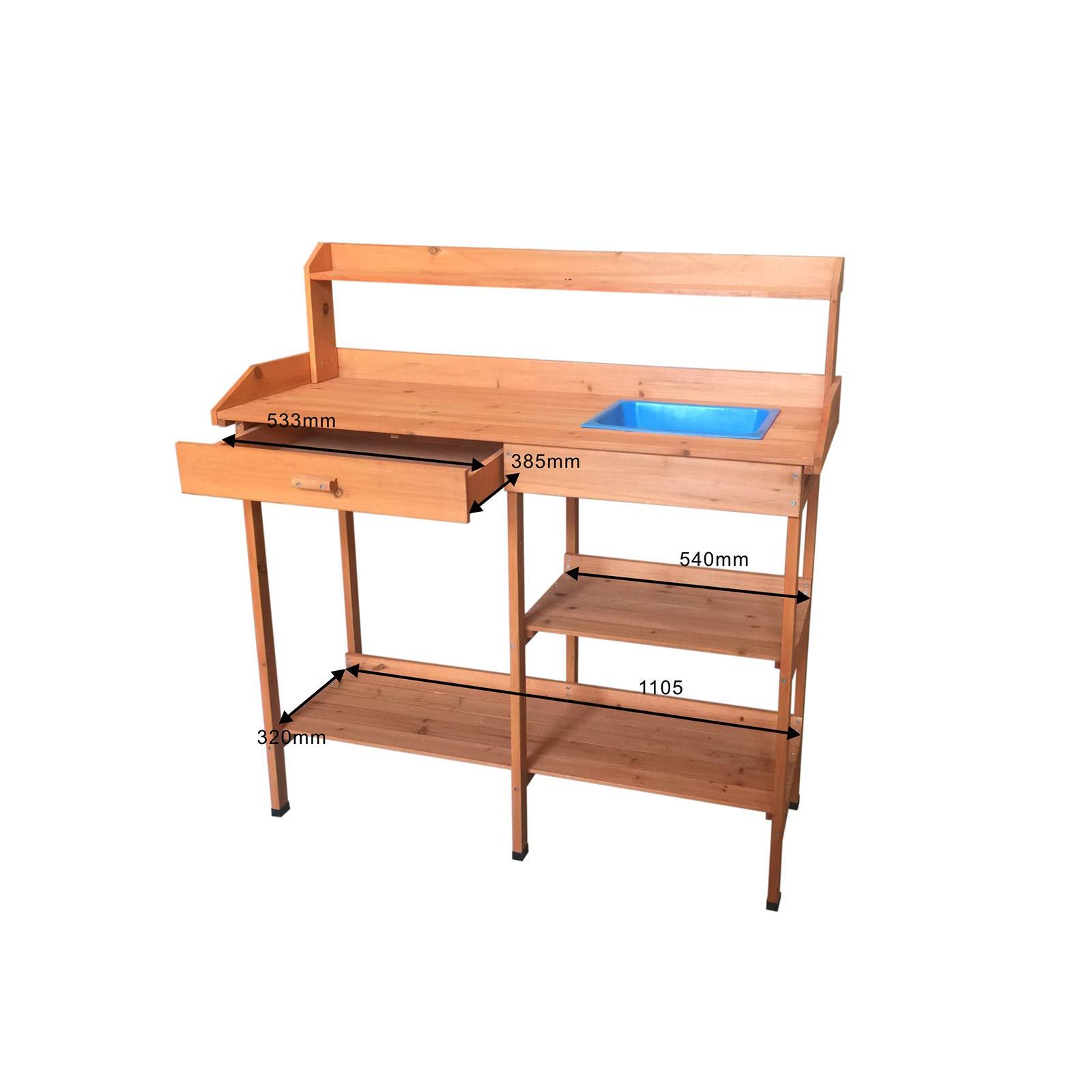 Gardiun KNH1095 - Mesa de trabajo jardinería madera natural Kalvin 116x44x125 cm: Amazon.es: Jardín