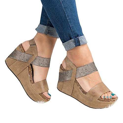 bf44a7eb5a Syktkmx Womens Strappy Platform Wedges Open Toe Slingback Cork Heel Slip on  Thong Sandals