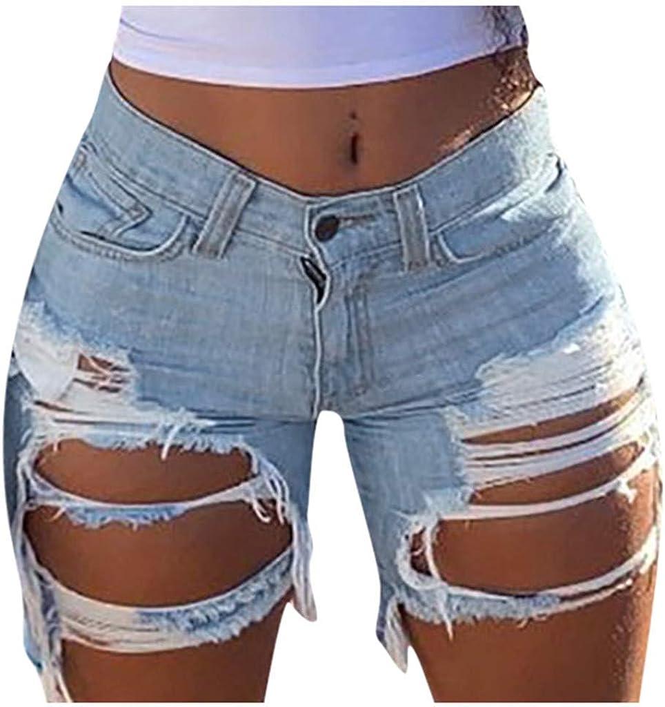 Depslee Women's Denim Shorts, Short Jeans with Stretch Frayed Frayed Hem, Summer Women's Denim Shorts hot Pants with Pockets (03-Light Blue,Small)