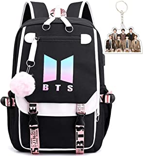 BTS School Backpack Features USB And Audio Cable Interface Breakers, Suitable For Students, Laptop Backpacks and Casual Ba...