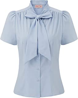 Summer Short Sleeve Office Button Down Blouse Stripe Shirt Tops with Bow Tie BP573