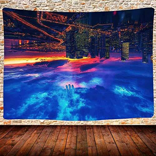 KBIASD Trippy City Tapiz Hermosa Puesta de Sol de la Ciudad Downtown Skyline Modern City Colgante de Pared Trippy Sky Paisaje Tapiz Colgante de Pared para Sala de Estar 80x60 Pulgadas