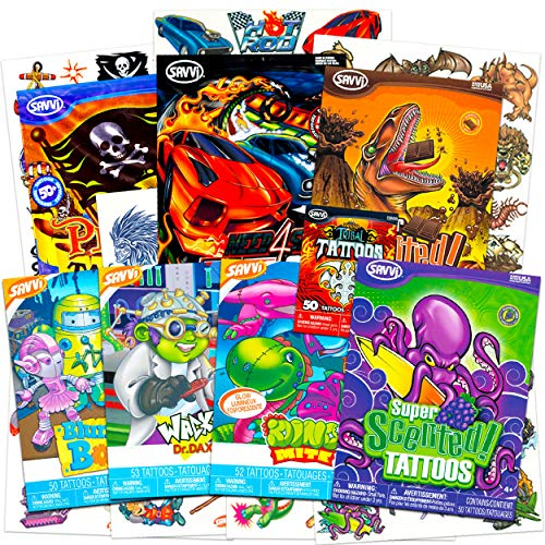 Temporary Tattoos for Boys Mega Set Bundle with Over 400 Flash Scented Tattoos ~ Includes Cars, Pirates, Monsters, Robots, Dinosaurs, and More (Tattoo Party Favors for Kids)