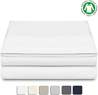BIOWEAVES 100% Organic Cotton 1 Flat Sheet Only, 300 Thread Count Soft Sateen Weave GOTS Certified Top Sheet (Queen, White)