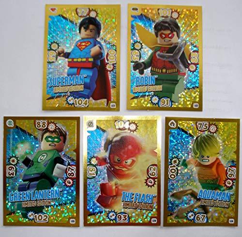 Blue Ocean Lego Batman Serie 1 - 5 Limitierte Gold Karten Trading Card LE 2 Robin LE 3 Superman LE 5 Green Lantern LE 6 The Flash LE 4 Aquaman + 1 Schutzhülle + 1 Gold Sticker