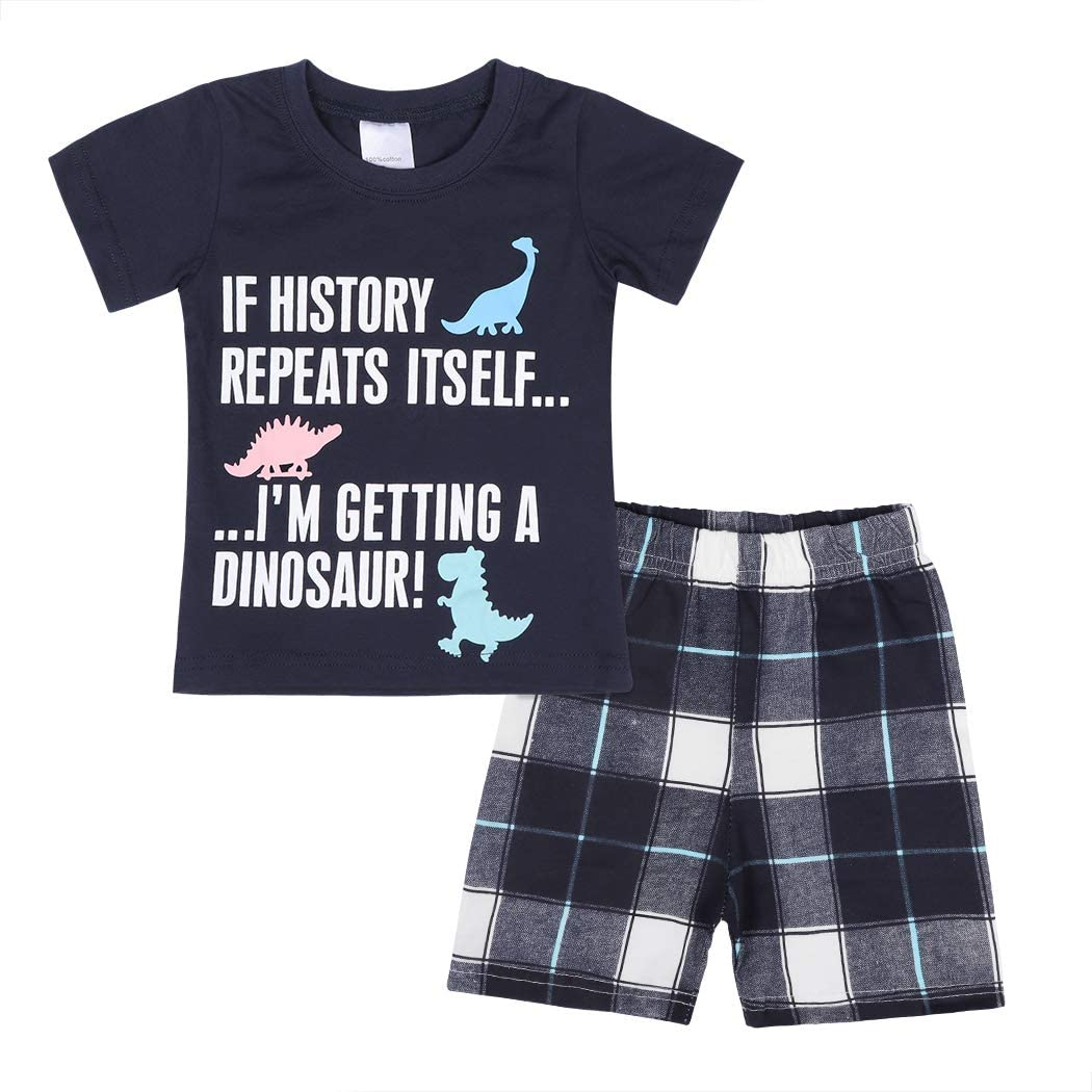 WonderBabe Toddler Baby Boy Summer Little Dinosaur Short Sleeve Tee Tops and Shorts Clothes Outfit Set