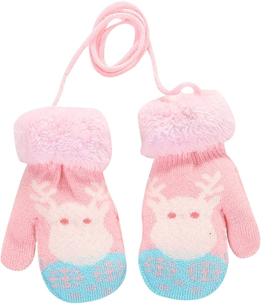 Licogel Kids Warm Mittens Cute Winter Mittens Knit Mittens with Lanyard for Christmas Hanging Handmade Snowflake Elk