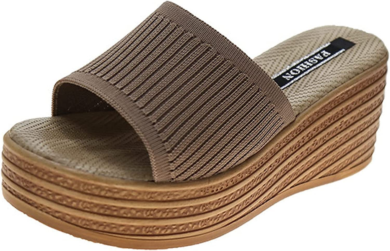 Womens Beach Wedges Slides Durable Slimming Slip on Comfortable Peep Toe Cork Mules Platform Slide Sandals