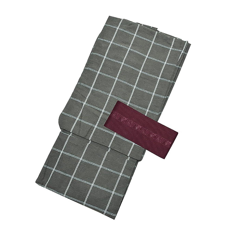 黄ばむ突然のライン[ 京都きもの町 ] 男性 綿麻浴衣+帯 2点セット 墨黒格子