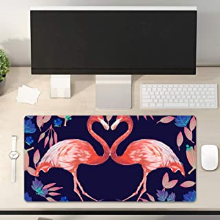 Flamingo Mouse Pad Two Red Birds Neck Like Heart Purple Leaf PU Keyboard Pad Office Study Game Waterproof Mouse Mat Deskto...