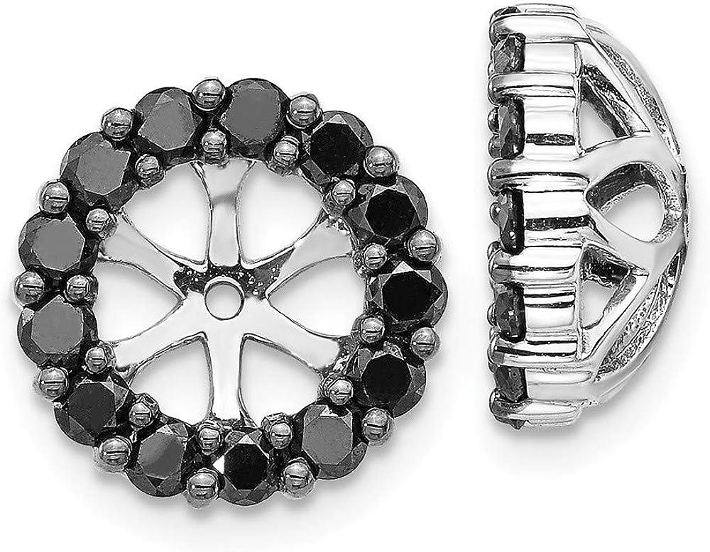14K White Gold Black Diamond Round Earring Jackets 6.50 mm Opening for Stud Earrings (1.04Cttw)