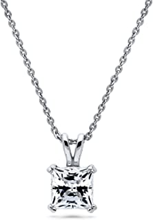 Rhodium Plated Sterling Silver Solitaire Anniversary Wedding Pendant Necklace Made with Swarovski Zirconia Princess Cut 1.24 CTW