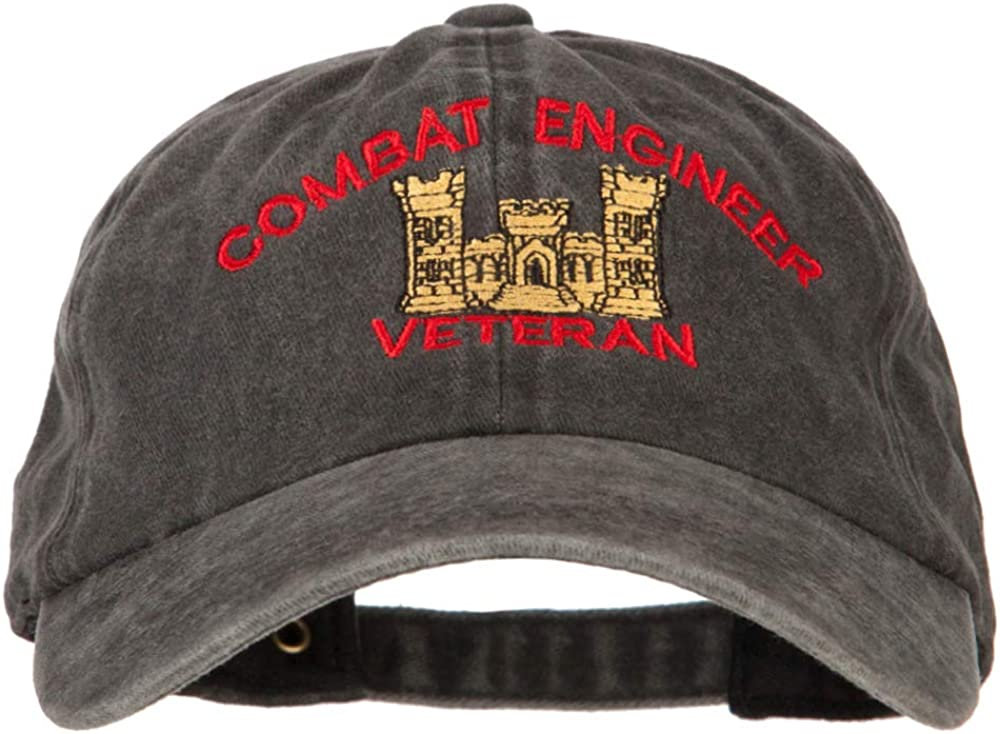 e4Hats.com Combat Engineer Veteran Embroidered Washed Cotton Twill Cap