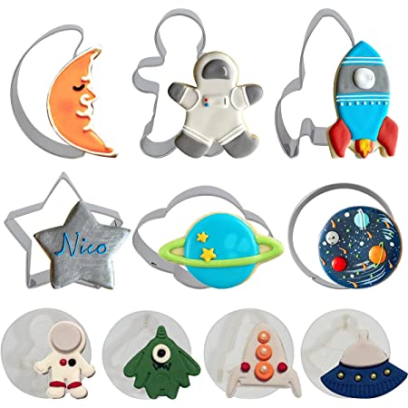 Space Cookie Cutters , Outer Space Fondant Stamper Set, Spaceship Astronaut Rocket Moon Star Planet Circle Pastry Biscuit Cake Baking Mold for Party Supplies