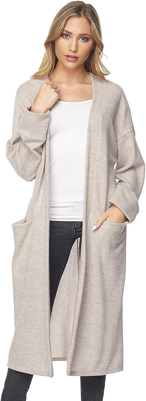 Embrace Women's Long Sleeve Wrap Kimono Cardigans Casual Coverup Mauve
