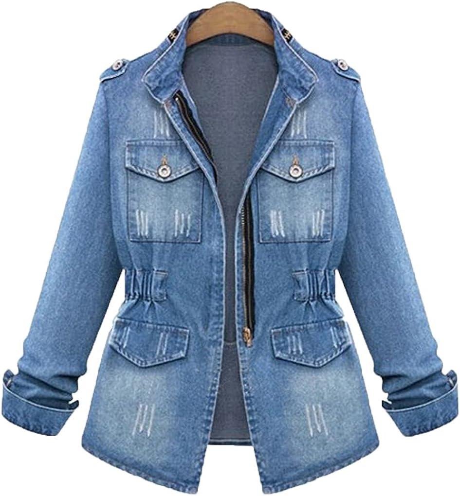 Bangqi Ladies Denim Jackets Women Autumn Spring Turn Down Collar Hole Long Sleeve Denim Jacket Women Jeans Coat Outerwear