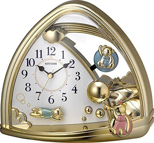 リズム(RHYTHM) 置き時計 アナログ ファンタジーランドSR クマの 振り子 金色 RHYTHM 4SG762SR18