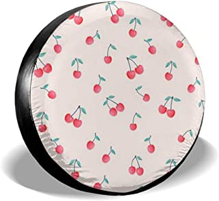 BaoyCea Lovely Sweet Red Cherry Spare Tire Cover Polyester Universal Dust-Proof Waterproof Wheel Covers for Jeep Trailer RV SUV Truck and Many Vehicles (14