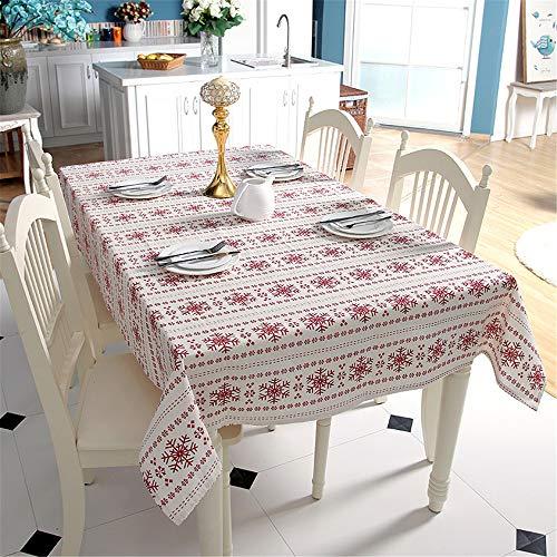 DHHY Leinen Baumwolle Tischdecke Rote Schneeflocken Weihnachten Tischdecke Für Hochzeitsbankett Waschbar Tischdecke A 140X160 cm