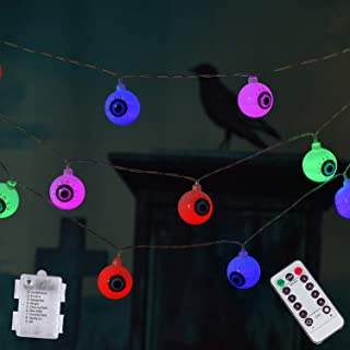 30LED Halloween String Lights, Battery-Operated with Wireless Remote Control Eyeball String Lights for Indoor Outdoor Halloween Party Garden Yard Decoration (Multicolor)