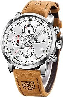 BENYAR Montre Homme Montres Etanche Chronographe Lumineuses Classique Montres Bracelet en Cuir Grand Cadran Date Analogiqu...