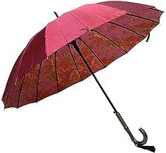 傘 レディース ジャンプ ワンタッチ 親骨55cm 16本骨 多骨傘 裏ゴブラン柄サテン生地16本骨ジャンプ式雨傘