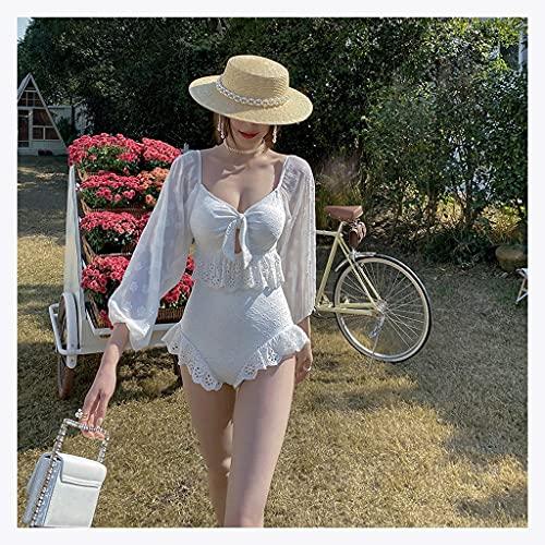 CIFE Ins Wind Badeanzug weiblich frisch Retro sexy sexy Neckholder zurück dünner Abdeckung Abdeckung Bauch Blase Ärmel Hot Spring Bikini Badeanzug weiblich (Color : White,...