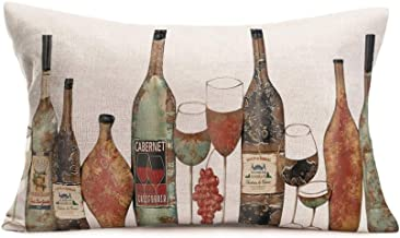 Xihomeli Throw Pillow Covers Wine Bottle Theme Decorative Lumbar Pillow CoverRectangle Cushion Cover Cotton Linen Vintage 12x20 Inch Home Decor Sofa Bed Pillowcase(Wine)