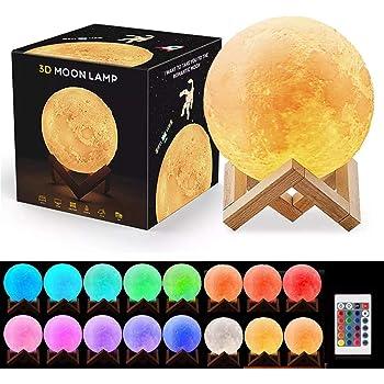 Lámpara de Luna, 3D Print LED 16 Colores Moon Light,2021 Favorite Valentines Gifts Luces decorativas, Luz de la Noche con Control Remoto Táctil y Brillo Ajustable Recarga USB para Dormitorio, Regalo de Fiesta. (20cm Diámetro)