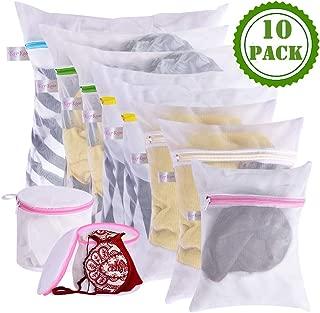 Mesh Laundry Wash Bags Set - 10Pcs Lingerie Delicates Reusable Washing Bag for Laundry, Travel Storage Organizer for Wash Clothes, Jeans, Sock, Bra, Underwear(8 pcs laundry bag and 2 pcs Bra wash bag)