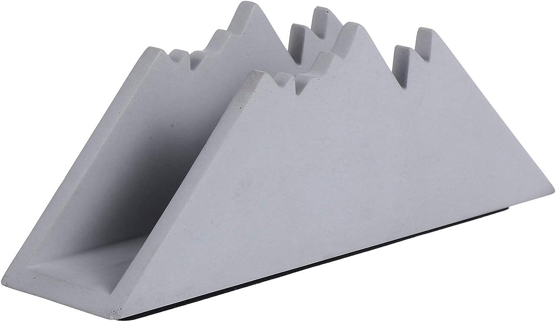 Hemoton Dark Grey Concrete Napkin Holder Table Napkin Tissue Dispenser Snow Mountain Shaped Napkin Stand Restaurant Serviette Serving Container 17x4.5x6.5cm